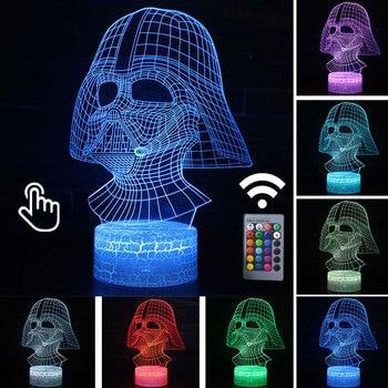 Star Wars Darth Vader Anime Figure Acrylic 3D Illusion LED Lamp Colourful NightLight Death Star Mask Yoda Model Toys Child Gift 23