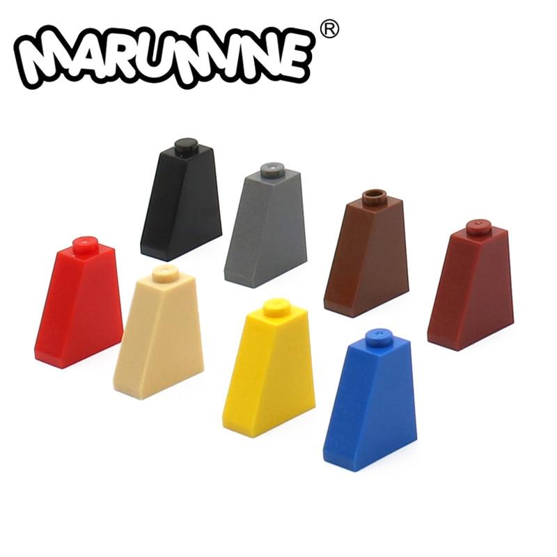 MARUMINE 50 шт. 65 2x1x2 наклонная плитка с нижней трубкой строительные блоки кубики MOC детали совместимы с 60481 сборных элементов