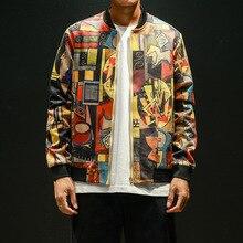 Japanese Style Hip Hop printing Bomber Jacket Men Clothing autumn winter Streetwear Coat 5XL Mens windbreaker tops