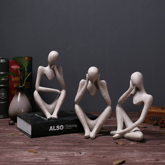 Forgetive Resin Statues Creative Abstract Thinker People Sculptures Miniature Figurines Craft Office Home Decoration Accessories 3