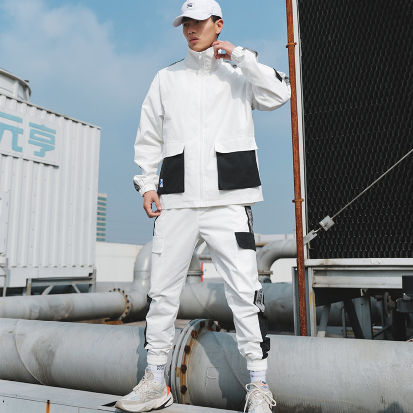 Brand Men's Sports Suits Loose And Comfortable Casual Jacket+Cargo Pants 2 PCS Sweatsuits Multi-pocket White Jogging Cargo Suit