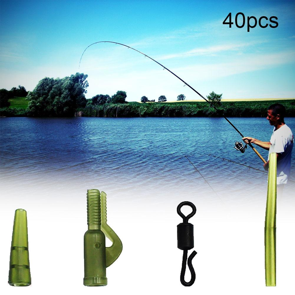 40Pcs Carp Fishing Anti-Tangle Sleeves Quick Change Swivels Snaps Safety Lead Clips Carp Terminal Tackle Tail Rubber Tubes Kit