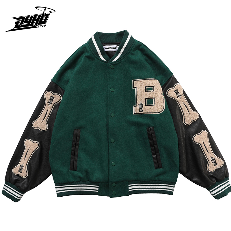 Hip hop peludo osso retalhos cor bloco colégio jaquetas dos homens harajuku bomber casual varsity jacket feminino casacos de beisebol unisex