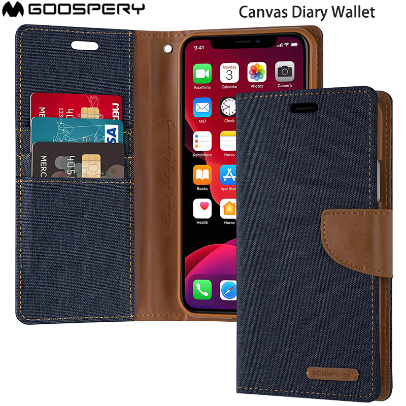 <font><b>Original</b></font> MERCURY GOOSPERY Wallet <font><b>Case</b></font> Canvas Diary Denim Stand Flip Cover For <font><b>iPhone</b></font> 6 6s 7 <font><b>8</b></font> Plus X XS max XR 11 PRO 11pro MAX image