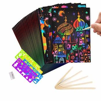 50 Sheets Rainbow Scratch Paper child Arts Crafts Magic Scratch board Art Notes scratchboard Wooden Drawing toys Ruler Pencil tanie i dobre opinie MaMagic CN (pochodzenie) Tektury keep away from fire Unisex Wydrapywanka 12-15 lat Zeszyt do nauki malowania kolorowania