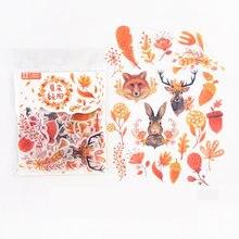 40 unidades/pacote outono floresta animais folhas adhensive adesivos decorativos álbum diário mão conta decoração