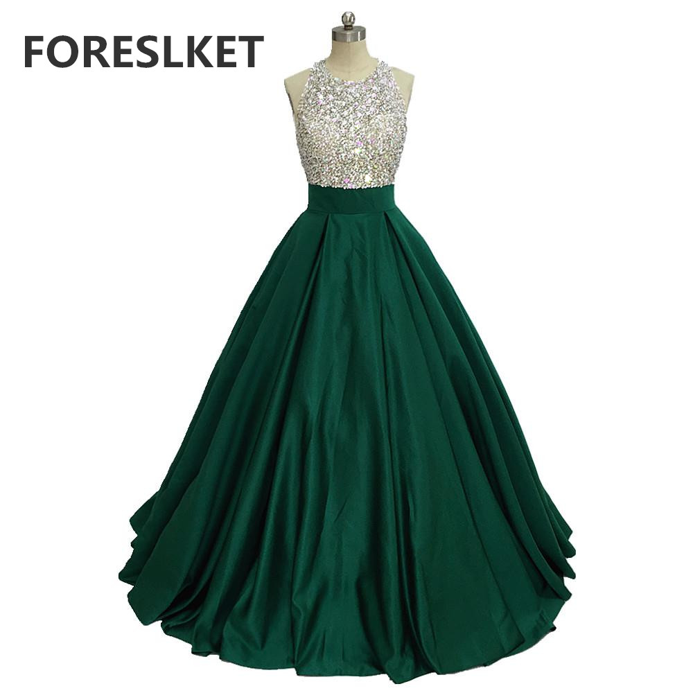 Ball Gown Crystal Green Satin Prom Dresses Backless 2020 Beading Celebrity Halter Sequined Formal Long Evening Party Gowns