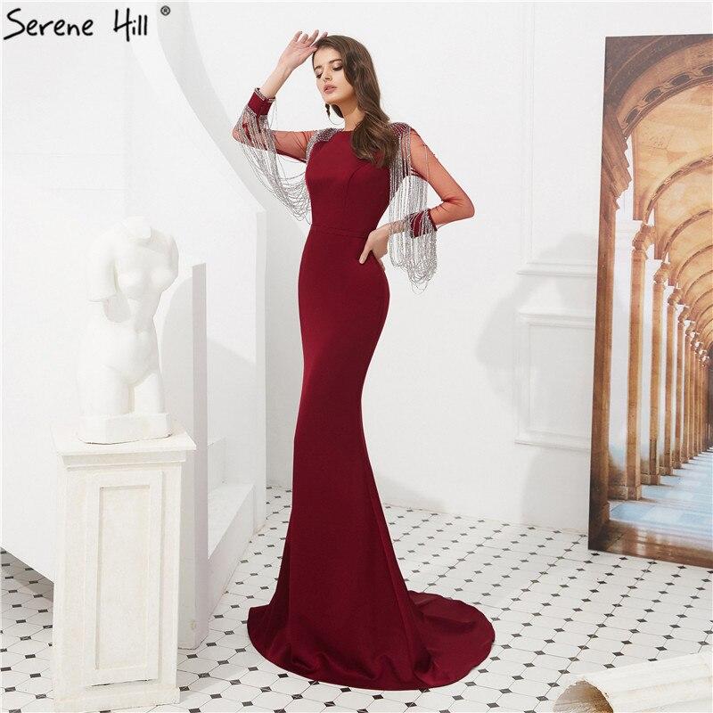 Wine Red Long Sleeve Tassel Prom Dresses 2019 Beading Satin Mermaid Long Prom Gowns Serene Hill LA6219