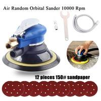 150mm 6Inch Air polisher Orbital Sander sanding machine Double Action Compressed Air Grinder Tools 12pcs wood polish Disc