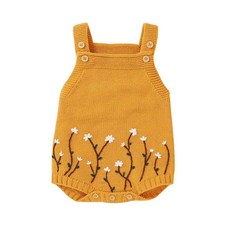 Autumn Baby Bodysuits Knitted Embroidery Sleeveless Jumpsuit Newborn Girl Sweater Toddler Kids Boys Knit Jumpsuit Baby Clothes 4
