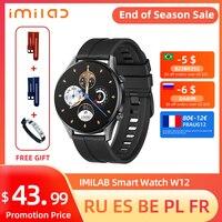 IMILAB-reloj inteligente W12 para hombre y mujer, pulsera con Bluetooth, seguidor de actividad/deporte, resistente al agua, IP68