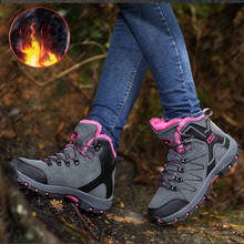 NKAVQI Winter Warm Platform Shoes Woman Snow Boots Plush Female Casual Sneakers Suede Leather Ankle boots Men