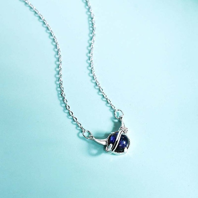 Genuine Real Pure Solid 925 Sterling Silver Pendant Necklaces Women Jewelry Blue Crystal Female Chain Necklace Choker 4