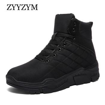 ZYYZYM Men Winter Sneakers High Top Men Casual Shoes Plush Keep Warm Shoes Boots Men Fashion Shoes For Men Zapatos Hombre