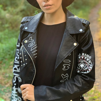 Ailegogo 2021 New Autumn Women Faux Soft Leather Jackets Coats Lady Black PU Rivet Zipper Epaulet 3D print Motorcycle Streetwear 2