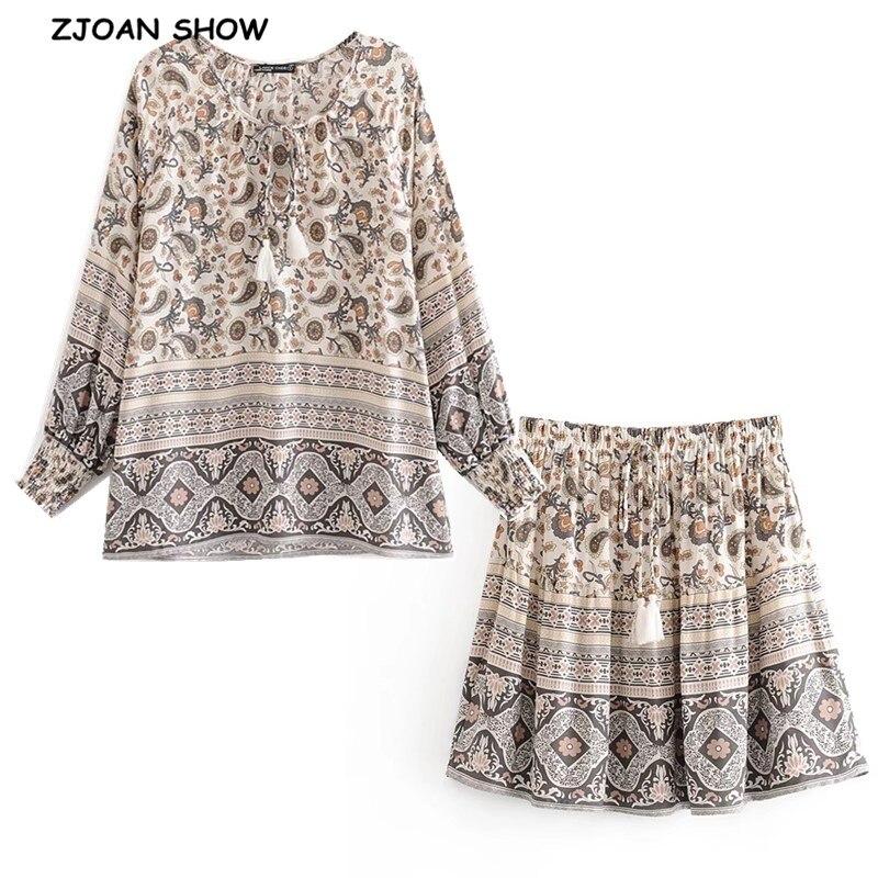 1 Set 2020 BOHO Paisley Floral Print Long Sleeve Shirt Ethnic Women Tassel Lacing Up Mini Short Skirts Holiday Skirt Sets Suits