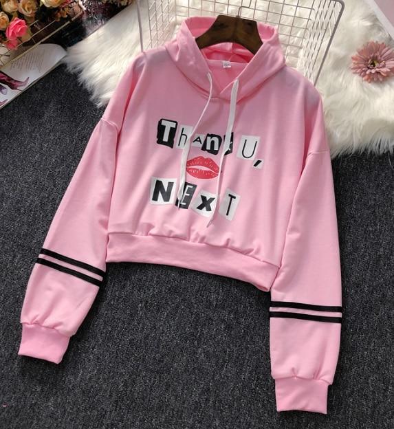 2019 New Stylish Navel Hoodies Sweatshirt Harajuku Women Ariana Grande Kawaii Clothes Hoodies Sweatshirts Crop Top Female Casual