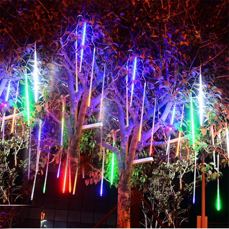 8 Pieces 30CM LED Light  Meteor Shower Rain Tubes Decoration Light Christmas Wedding Home Garden 100-240V/EU Plug With Tail Plug