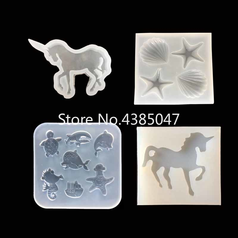 1PC Sea Shell Star Horse Unicorn Pendant DIY Silicone Mold Dried Flower Jewelry Accessories Tools Equipments Resin Molds
