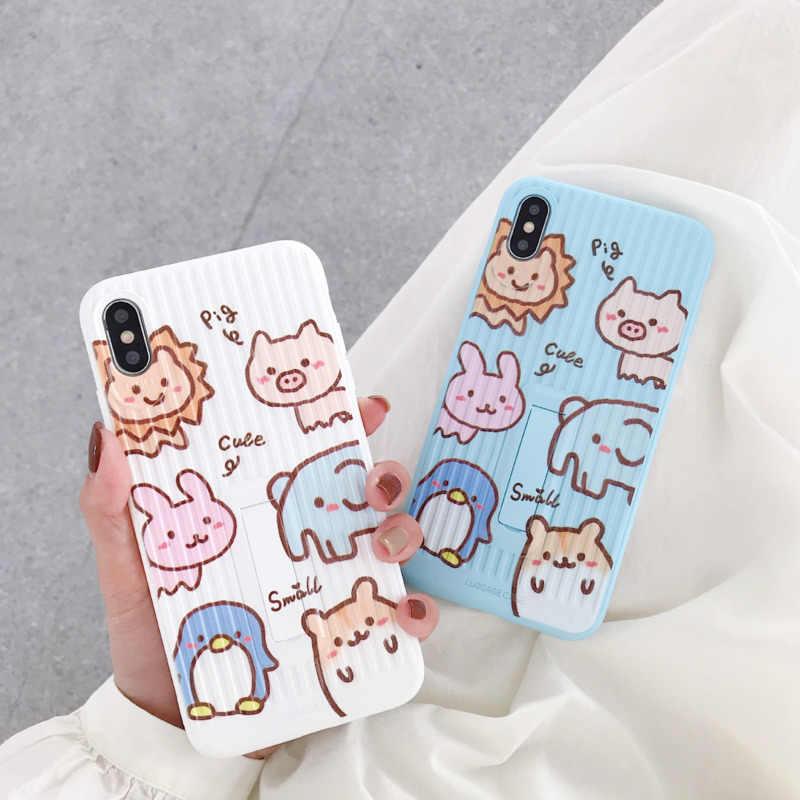 Funda de teléfono de animal lindo de dibujos animados para iPhone X XS XR XSMax 8 7 6 6S PluS funda de equipaje anti -Cubierta trasera de protección contra caídas