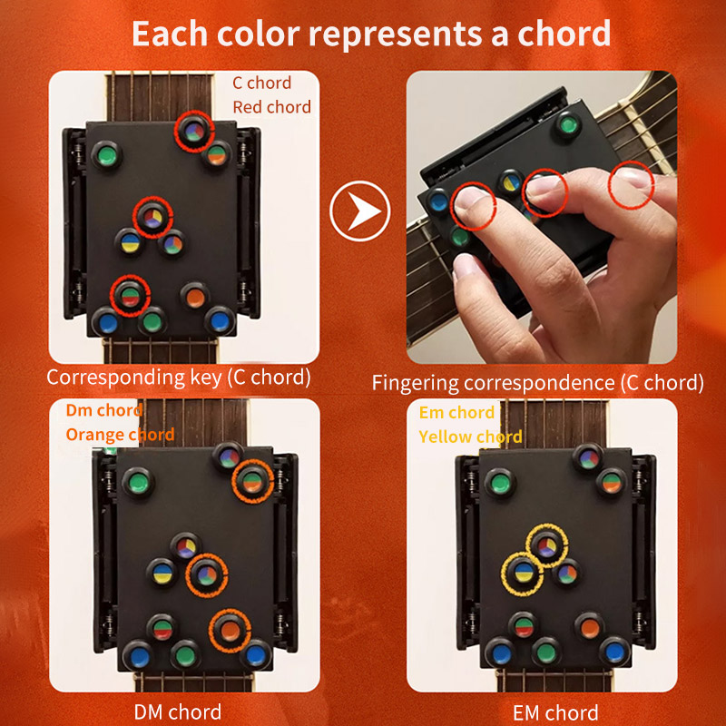 Guitar Learning System Chords Beginner Teaching Aid Learning Guitar Trainer Practice Acoustic Guitar Accessories Chord Buddy
