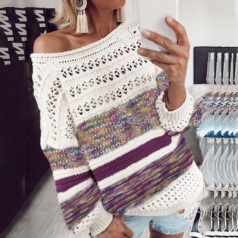 LASPERAL Women Hollow Out Knitted Sweaters Sexy Off Shoulder Striped Patchwork Autumn Long Sleeve Pullovers Gradient Color Tops