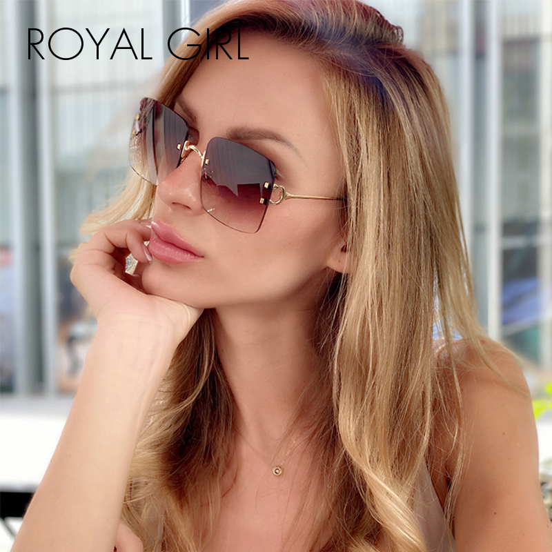 ROYAL GIRL Oversized Sunglasses Retro Rimless Square Edge Trimming Ocean Piece Sun Glasses Shades For Women UV400 Ss663