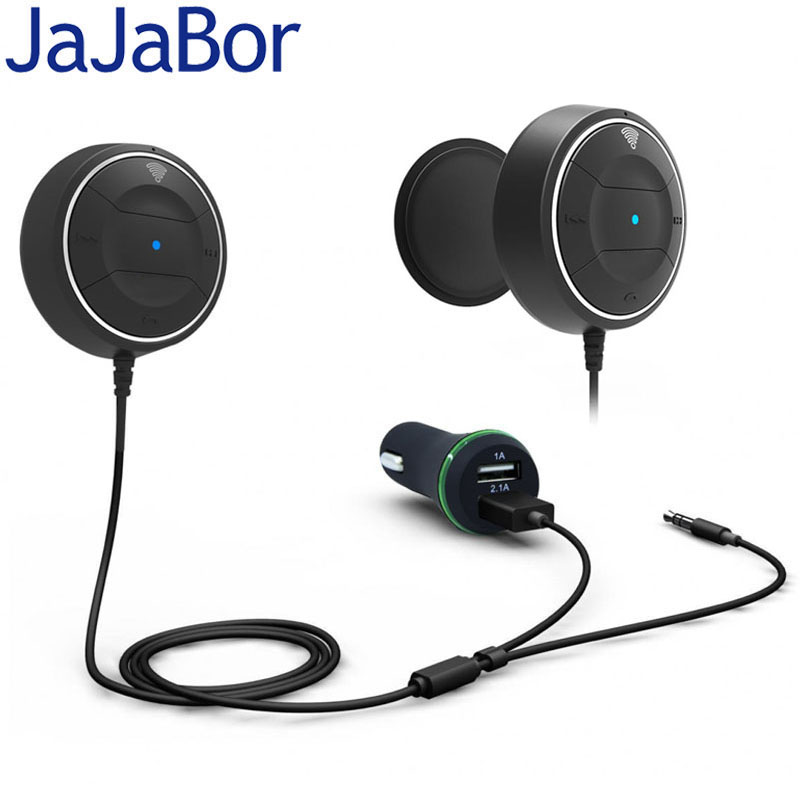 JaJaBor Bluetooth Car Kit Handsfree AUX 3.5MM Music Audio Player Dual USB Car Charger Support NFC Pairing Function