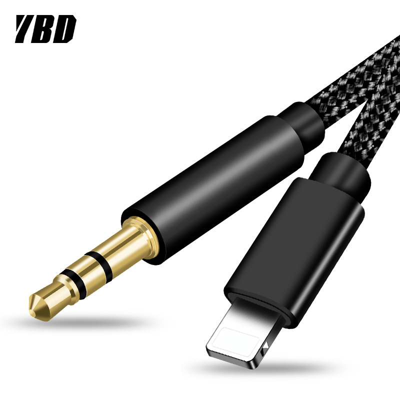 YBD For IPhone Lighting To 3.5mm Jack Adapter Audio Aux Cable For IPhone 11 Pro XS Max XR X 8 7 Plus Car Speaker Headphone Wire