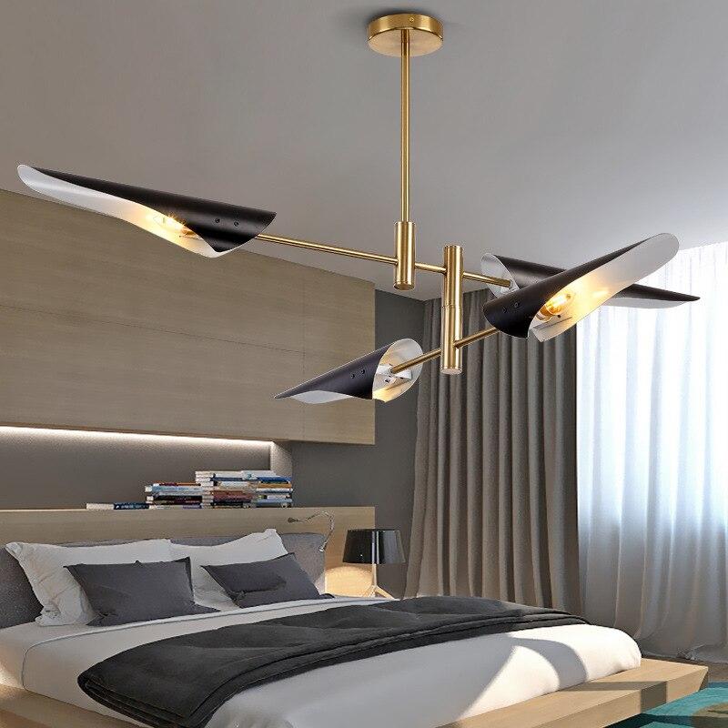 Современный светодиодный потолочный светильник для гостиной, столовой, бара, люстра черного/белого цвета