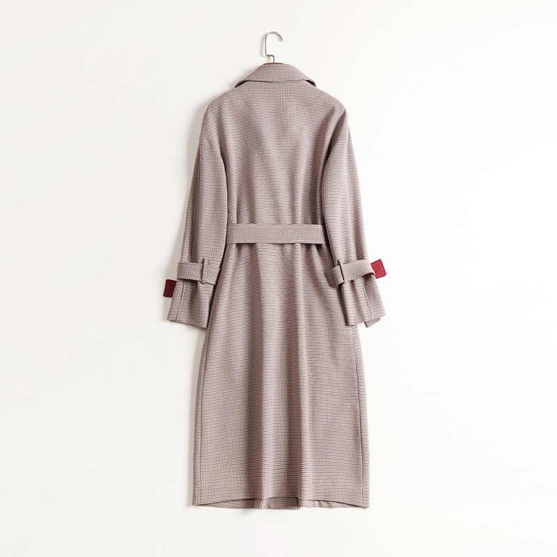 高品質ブランドトレンチコートファッションラペル襟ダブルコートストリートスリムフィットベルトウインドブレーカー女性