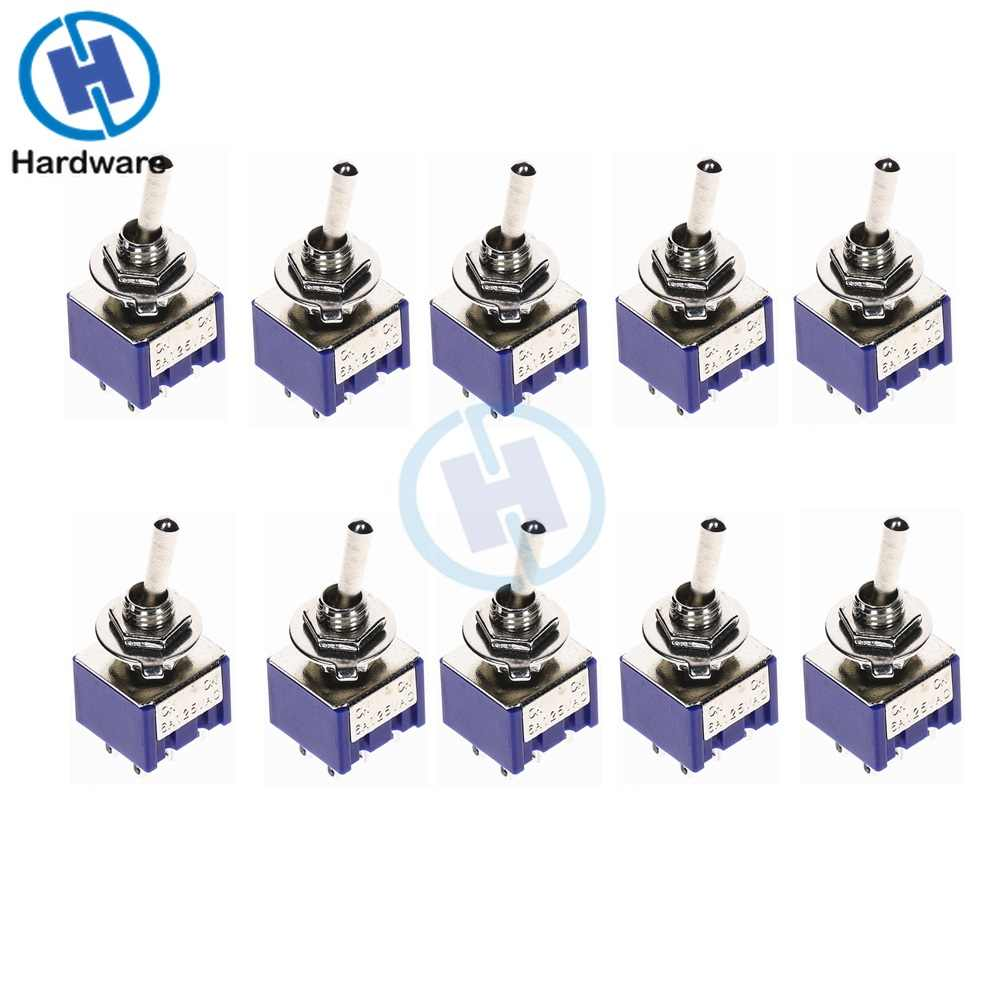 10PC Miniatur Toggle Switch Tiang Ganda Double Lempar DPDT (MTS202) di Di 120VAC 6A 1/4 Inci Pemasangan MTS-202