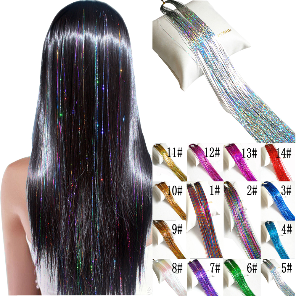 150Strands pcs Holographic Sparkle Hair Tinsel Strands Glitter Extensions Highlight Party Bling 37inch Long 50pcs lot
