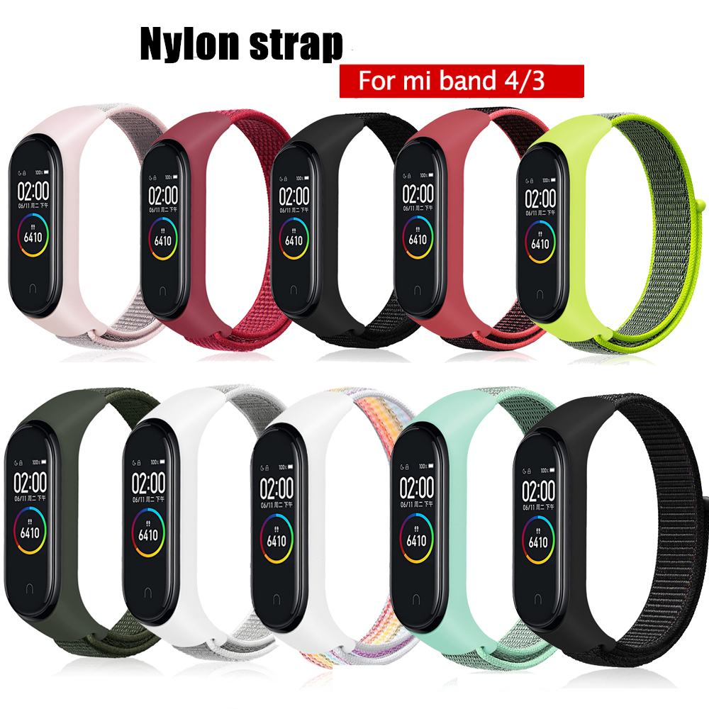 Velcro Nylon Strap For Xiaomi Mi Band 4 Bracelet NFC Smart Watch Replacement  Mi Band 3 Colorful Strap Anti-lost Wristband