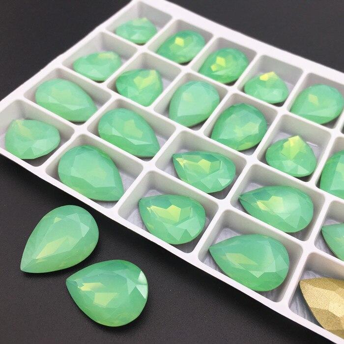 Hohe Qualität K9 Birne Strass Grün Opal Color13x18mm Teardrop Fancy Stein K9 Glas Kristalle Droplet Pointback Schmuck Stein