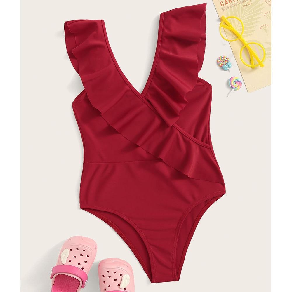 Hot Selling 2018 Europe And America Bikini Bathing Suit Bikini Cross Flounced One-piece Red Women's Children Swimwear