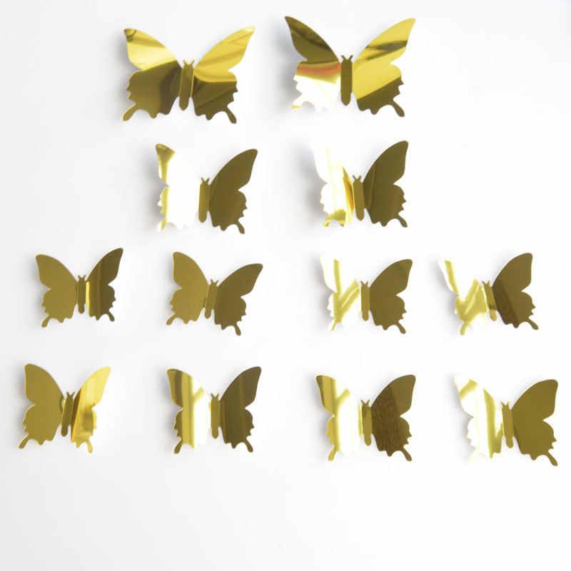 12 sztuk 3D lustra ścienne motyl naklejki kalkomania Wall Art wymienny pokój dekoracja na przyjęcie ślubne domu dekoracja na ścianę naklejki dla dzieci pokój