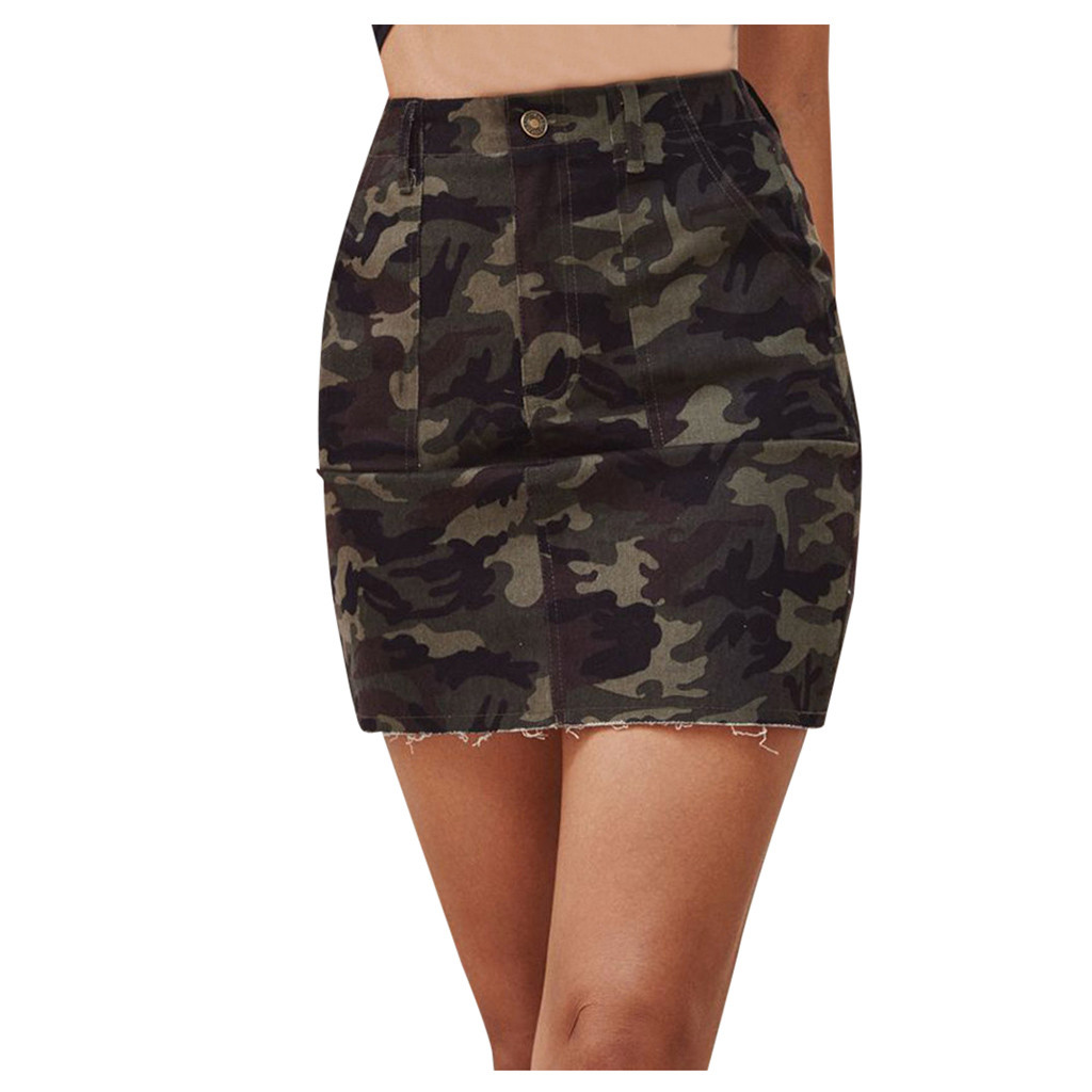 Summer Vintage Print Office High Waist Skirt Women's Camouflage Button Pocket Skirt Slim Mini Skirt Sexy Retro Streetwear #3