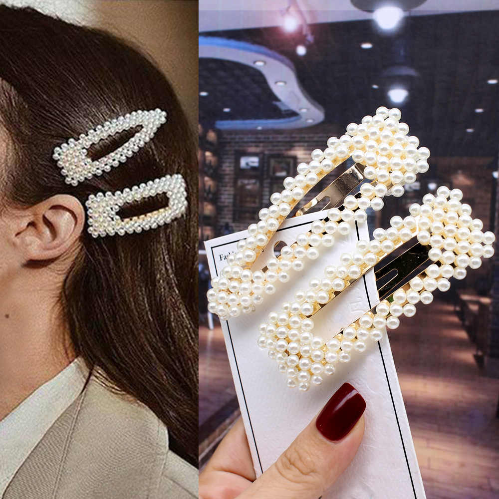 2pcs Ins Fashion Women Girls Elegant Pearls Hair Clips Sweet Headwear Hair Ornament Hairpins Barrettes Headband Hair Accessories