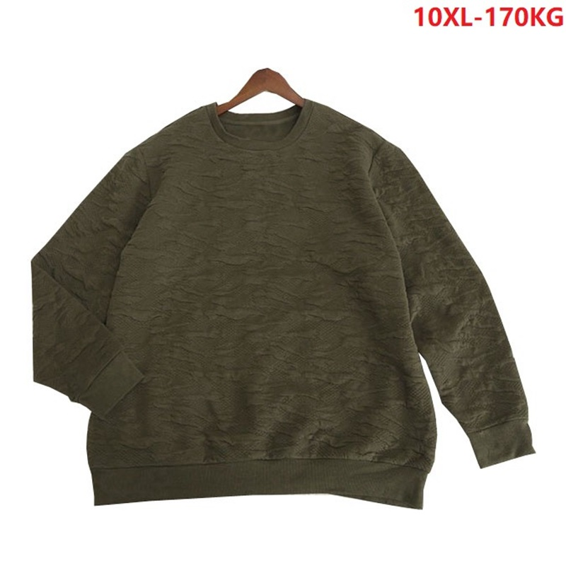 Plus Size 10XL Men Spring Autumn Sweater Warm 8XL 9XL Man Pull Over Sweater Cotton Armygreen 150KG 160KG 170KG Loose Casual Tops