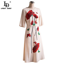 Summer Fashion Runway Bohemian Women Midi Dress Beading butterfly +flower Print Ladies Was Thin Slim Midi Dresses