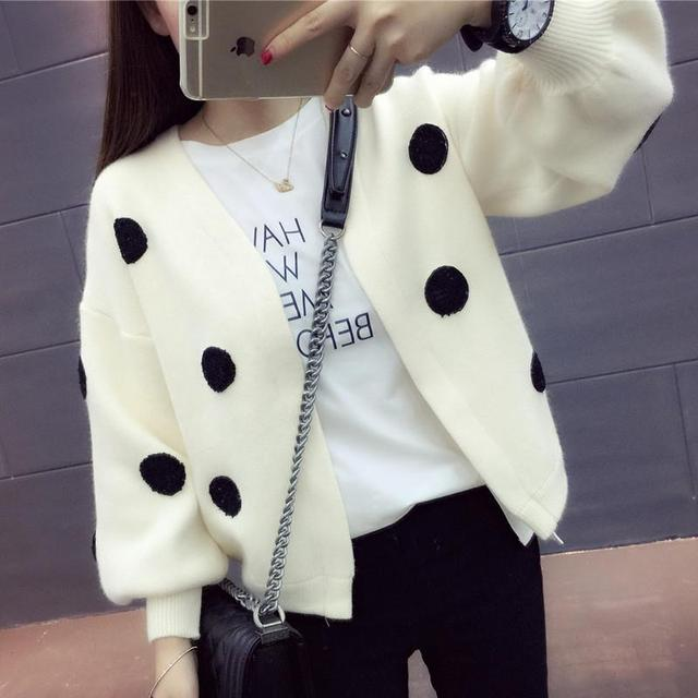 Spring dress women's autumn coat women's long sleeve top cardigan sweater trendy loose show thin wave point sweater 3