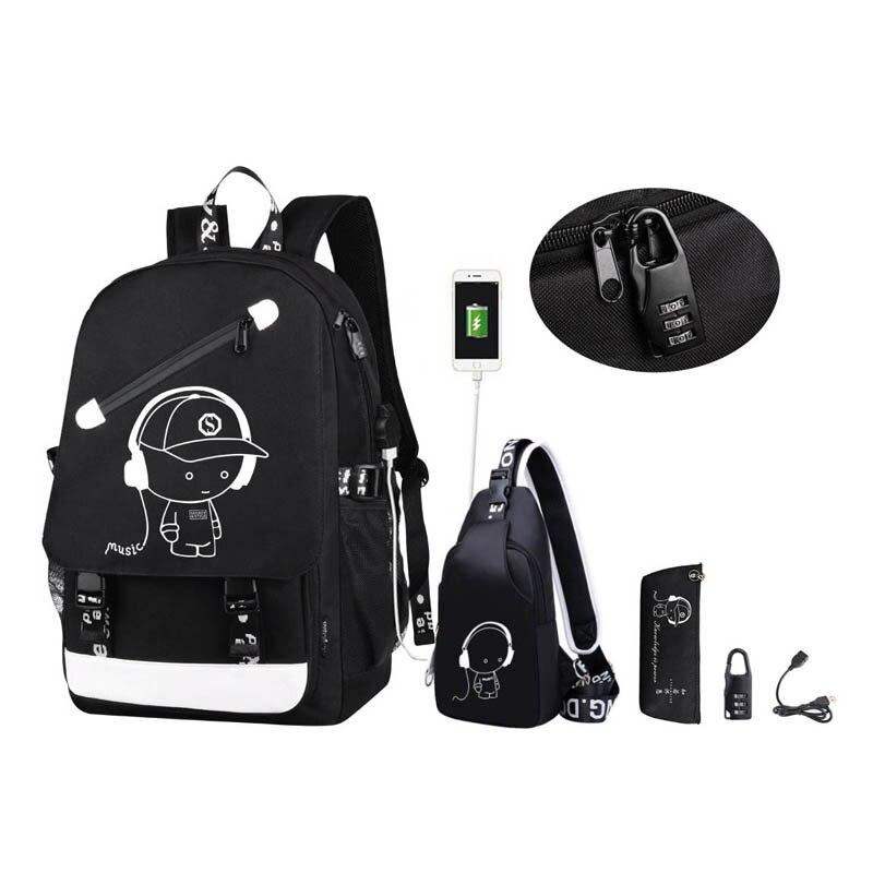 Anime Cartoon Luminous Anti-theft Kids School Backpack With USB Charging Port Fashion College School Bags Boys Bookbag Mochila