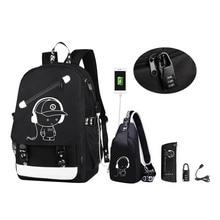 Anime Cartoon Luminous Anti-theft kids School Backpack with USB Charging Port Fa