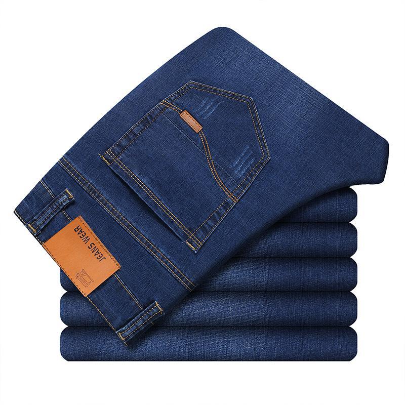 Мужские классические джинсы, джинсовые мужские брюки, мужские мягкие черные байкерские джинсовые комбинезоны, Мужские штаны - Цвет: Blue