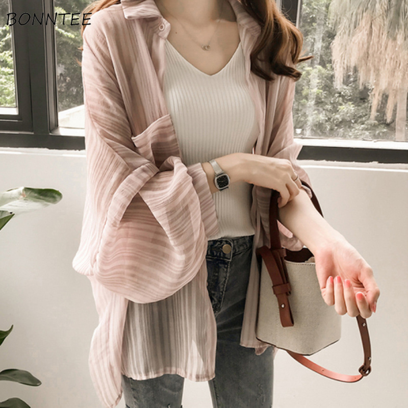 Shirts Women Chiffon Sunscreen Clothing Ladies Korean Style Top Womens Striped Blouse Outwear Loose Shirt Thin Elegant Coat Chic