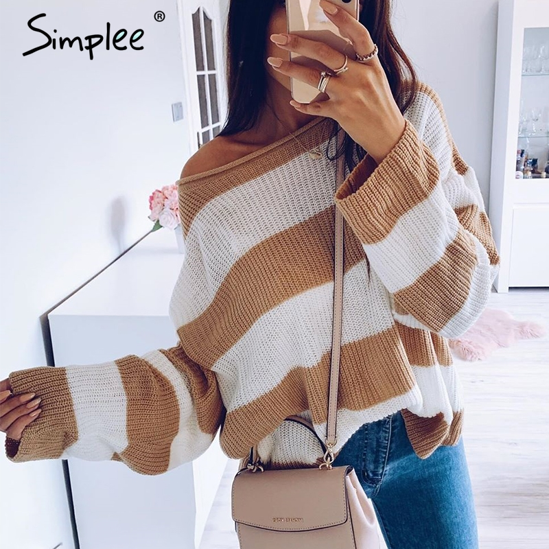 Simplee Striped Knitted Sweater Women O Neck Thick Pullover Female Jumper Loose Soft Streetwear Casual Wool Sweater Winter