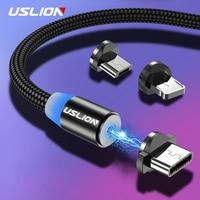Cavo magnetico USLION 2M a ricarica rapida Micro USB tipo C caricabatterie per iPhone XS X 8 7 Samsung S10 9 magnete cavo telefonico Android 3M