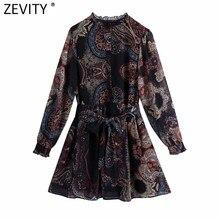 Zevity – Mini robe en dentelle Agaric pour femme, Vintage, imprimé floral, Totem, ceinture Chic avec nœud noué, DS4747