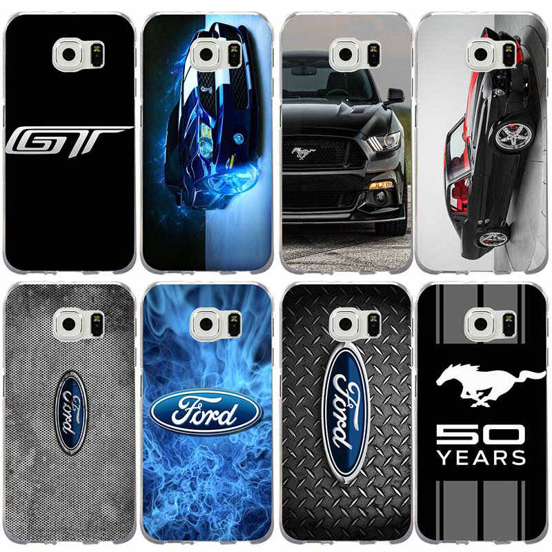 Lembut TPU Phone Case untuk Samsung Galaxy S2 S3 S4 S5 Mini S6 S7 S8 S9 S10 Edge Plus Lite note 8 9 Tritone Fashion Ford Mustang Logo